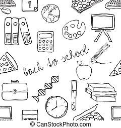 doodle school seamless pattern