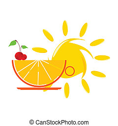 sun and orange and cherry vector illustartion on a white...