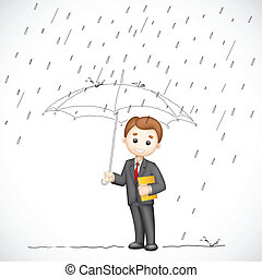 Business man under Umbrella - illustration of 3d business...