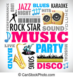 Music Background - illustration of music word cloud with...