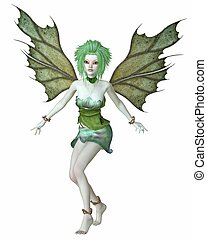 Green Forest Fairy - Forest fairy with green leaf hair and...