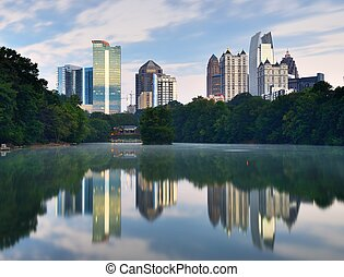 Atlanta's Piedmont Park - Midtown skyline as seen from...
