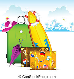 Travel Bag - illustration of travel bag with surfboard and...