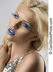blonde girl with euro flag make-up with hand on the shoulder