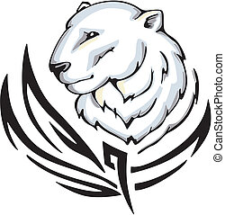 polar bear tattoo - Tattoo with polar bear head. Color...