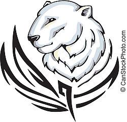 polar bear tattoo - Tattoo with polar bear head. Color...