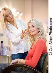 Young woman in beauty salon