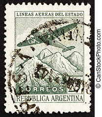 Postage stamp Argentina 1946 Plane over the Andes -...