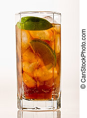 Cold tea - Drink series: cold tea with lime and ice
