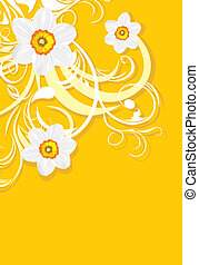 Ornamental background with daffodils. Vector illustration