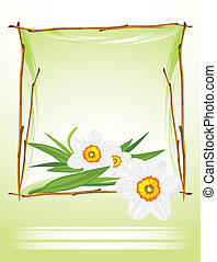 Frame with daffodils on the abstract background. Vector...