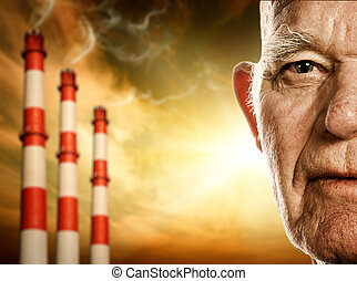 Elderly man's face. Power plants on background