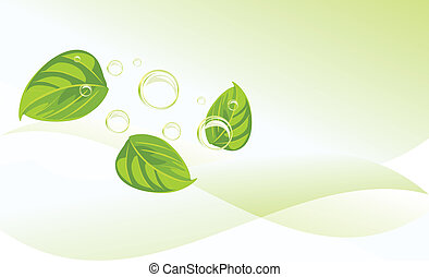 Leaves and bubbles. Background - Leaves and bubbles on the...