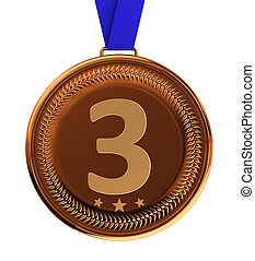 Bronze Medal - Isolated bronze medal over white background...