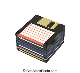 Stack of floppy disks isolated in white