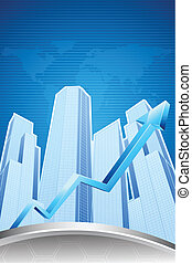 Increasing Real Estate - illustration of upward arrow in...
