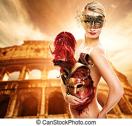 Beautiful woman in front of Colosseum (Rome, Italy)
