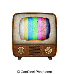 Television ( TV ) icon recycled paper stick on white...