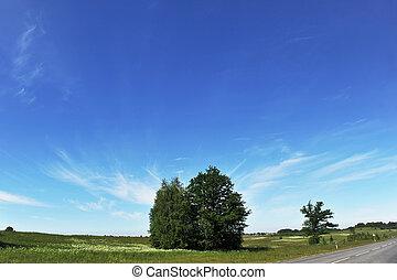 road under  blue sky