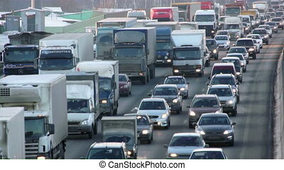 Road in rush hour - Moscow winter highway with rush hour...