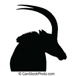 Sable Bull Portrait Side View Isolated Silhouette - Large...