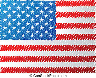Us flag, vector illustration