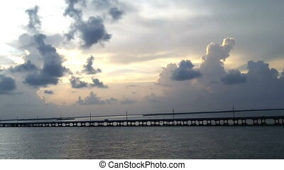 Sunset Bridge Florida Keys - Sunset Over Bridge in the...