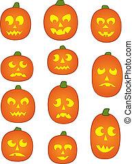Eleven Pumpkin Faces - Eleven Jack o' Lantern Pumpkins with...