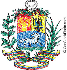 Coat of arms, Venezuela, vector illustration