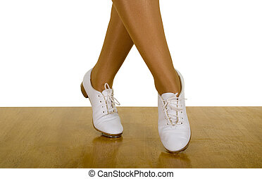 Movements Of Tap-Top/Clog Dance ; close up, on white