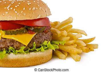 Burger and french fries - Cheeseburger and french fries on a...
