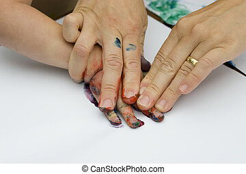 Fingerpainting with kids