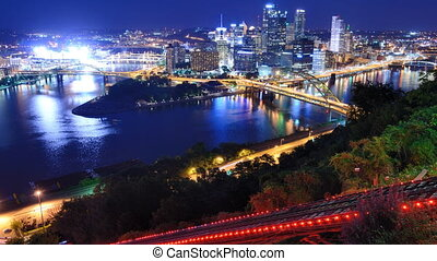 Pittsburgh Skyline and Incline - Time lapse of downtown...