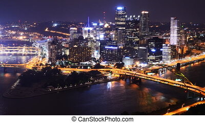 Pittsburgh Pennsylvania - Time lapse of downtown Pittsburgh,...