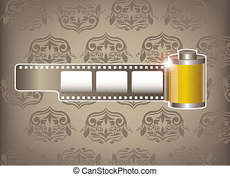 camera film roll over ornament background. vector...