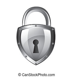 padlock - silver padlock isolated over white background....