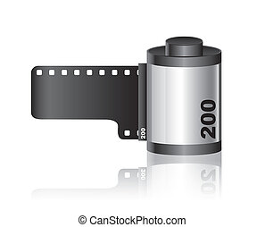 Camera film roll with shadow over white background. vector
