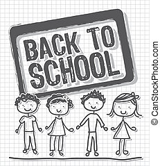 back to school with children over paper notebook. vector