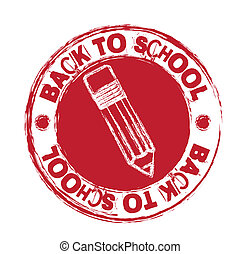 back to school - red back to school seal isolated over white...