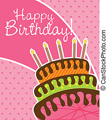 birthday card with cake over pink background. vector...
