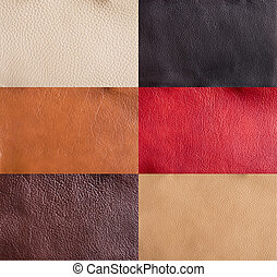 collection of colorful leather textures background
