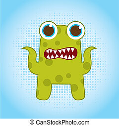 green monster - green cute monster over blue background...