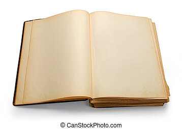 Open ancient book with blank pages, isolated on white...