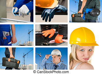 workers set - workers with equipment on building background...