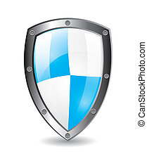 Protection shield with shadow over white background vector...