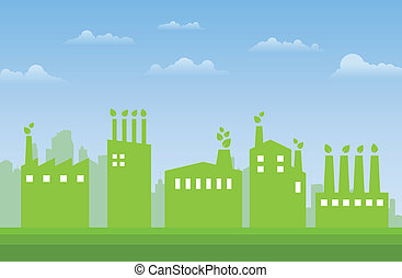 Green Industries - Illustration of green industries and...