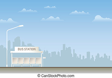 Bus Station - Illustration of a bus station in the city