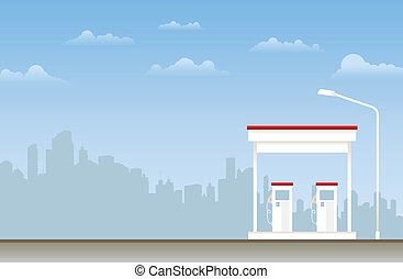 Gas Station - Illustration of a gas station in the city.