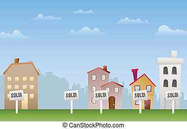 Sold Out - Illustration of sold properties. Even the empty...
