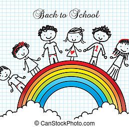 back to school - children over rainbow, back to school...